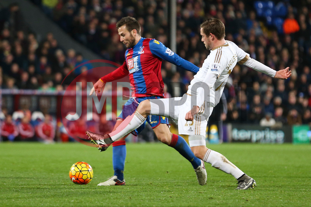 Gylfi Sigurdhsson of Swansea City tackles Yohan Cabaye of Crystal Palace - Mandatory byline: Jason Brown/JMP - 07966386802 - 28/12/2015 - FOOTBALL - London - Selhurst Park - Crystal Palace v Swansea City - Barclays Premier League