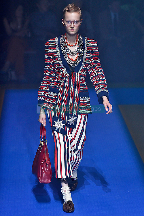 Model Lina Hoss walks on the runway during the Gucci Fashion Show during Milan Fashion Week Spring Summer 2018 held in Milan, Italy on September 20, 2017. (Photo by Jonas Gustavsson/Sipa USA)