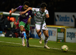 Bristol City's Derrick Williams battles for the ball with Yeovil Town's Liam Shepard - Photo mandatory by-line: Alex James/JMP - Mobile: 07966 386802 - 10/03/2015 - SPORT - Football - Yeovil - Huish Park - Yeovil Town v Bristol City - Sky Bet League One