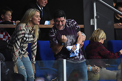 Former Argentinian soccer player Diego Maradona attends the double match at the Davis Cup final tie between Croatia and Argentinia at the Arena, Zagreb, Croatia on november, 26, 2016. Photo by Corinne Dubreuil/ABACAPRESS.COM