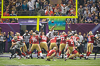 3 February 2013: Kicker (2) David Akers of the San Francisco 49ers kicks a field goal against the Baltimore Ravens during the second half of the Ravens 34-31 victory over the 49ers in Superbowl XLVII at the Mercedes-Benz Superdome in New Orleans, LA.
