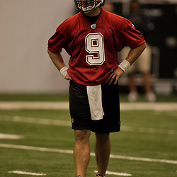 21 May 2009: Saints quarterback Drew Brees (9) participates in drills during the New Orleans Saints Organized Team Activities (OTA's) held at the team's indoor practice facility in Metairie, Louisiana.