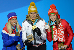February 18, 2018 - Pyeongchang, South Korea - DARYA DOMRACHEVA of Belarus (left) , ANASTASIYA KUZMINA of Slovakia (center) and TIRIL ECKHOFF of Norway with their medals from the Women's 12.5km Mass Start Biathlon event in the PyeongChang Olympic Games (Credit Image: © Christopher Levy via ZUMA Wire)