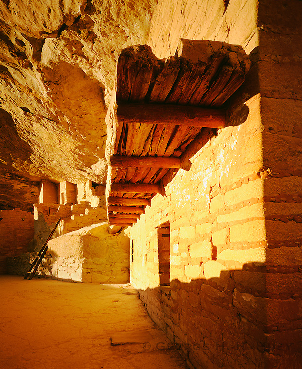 "0405-1122 ~ Copyright: George H. H. Huey ~ Balcony House, Anasazi culture cliff dwelling in Soda Canyon, with well preserved ""balcony"". Occupied from A.D. 1190-1270's. Mesa Verde National Park, Colorado."
