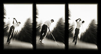 Aseries of three images capturing three distinct moments of a golf swing.