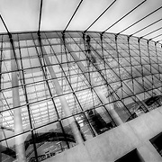 A black and white look at the Kauffman Center for the Performing Arts on April 19, 2011 during construction.