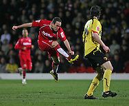 London - Tuesday, March 4th, 2008: Lee Croft of Norwich City has a shot during the Coca Cola Champrionship match at Vicarage Road, London. (Pic by Chris Ratcliffe/Focus Images)