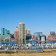 Panoramic shot of Baltimore's skyline over Inner Harbor in Baltimore, Maryland