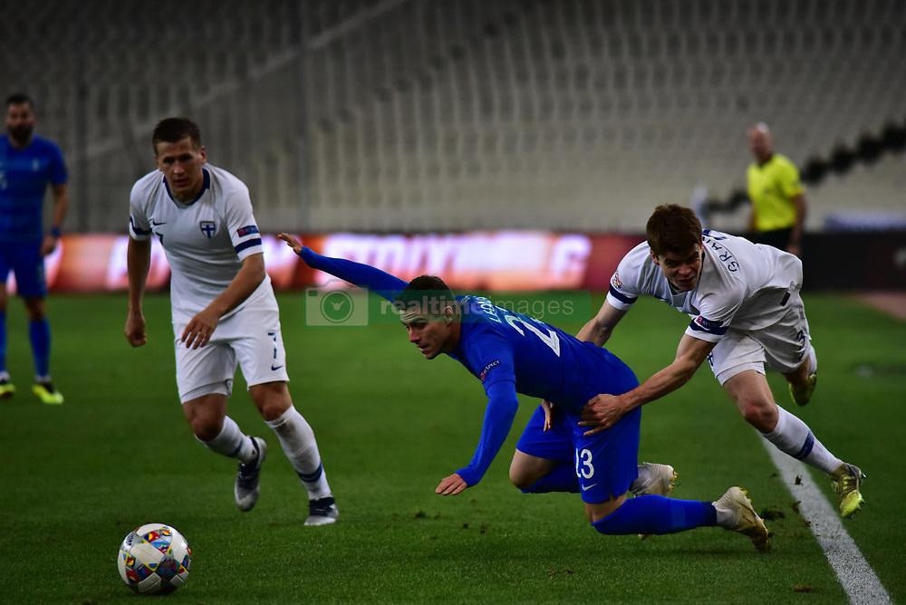 November 15, 2018 - Athens, Attiki, Greece - Albin Granlund (no 3) of Finland made foul to Leonardo Koutris (no 23) of Greece. (Credit Image: © Dimitrios Karvountzis/Pacific Press via ZUMA Wire)