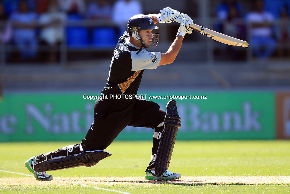 New Zealand captain Ross Taylor drives. Twenty20 International Cricket match between The New Zealand Black Caps and Pakistan at Eden Park on Boxing Day, Sunday 26 December 2010. Photo: Andrew Cornaga/photosport.co.nz