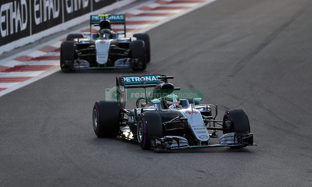 Mercedes' Lewis Hamilton leads Nico Rosberg during the Abu Dhabi Grand Prix at the Yas Marina Circuit, Abu Dhabi.
