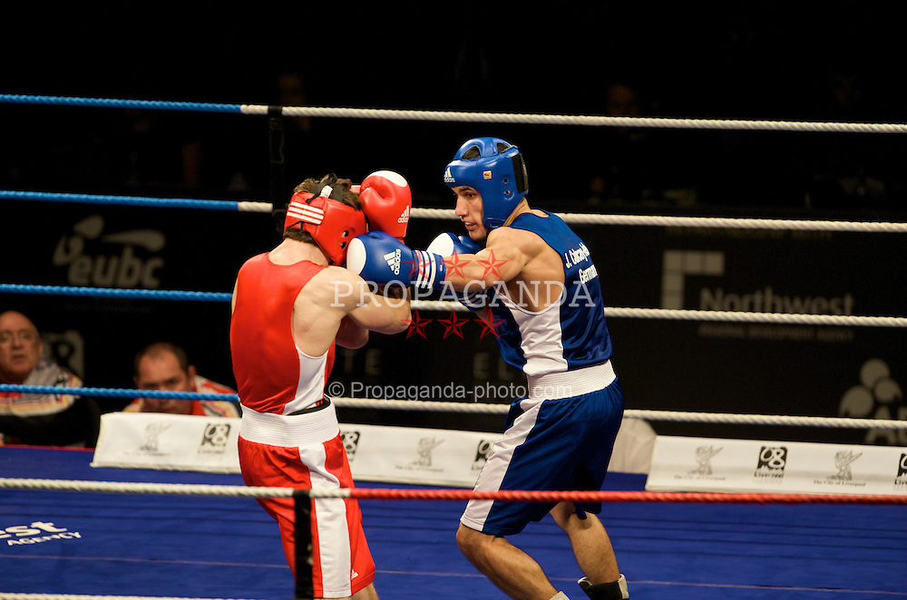 LIVERPOOL, ENGLAND - Saturday, November 15, 2008: Jack Culcay-Keth (GER) (blue) takes on Mohamed Nurudzinau (BLR) during the Welterweight 69kg gold medal fight at the 38th European Elite Boxing Championships at the Liverpool Arena. (Photo by David Rawcliffe/Propaganda)