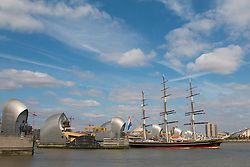 © Licensed to London News Pictures. 31/08/2016. Three masted clipper ship Stad Amsterdam pictured sailing down the Thames today after a short visit to London. The tall ship is 76 metres long and was launched in the year 2000. Stad Amsterdam means City of Amsterdam in English. Credit: Rob Powell/LNP