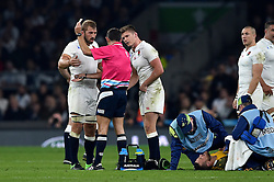 Owen Farrell of England is shown a yellow card by referee Romain Poite - Mandatory byline: Patrick Khachfe/JMP - 07966 386802 - 03/10/2015 - RUGBY UNION - Twickenham Stadium - London, England - England v Australia - Rugby World Cup 2015 Pool A.