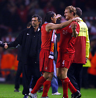 LIVERPOOL V CHELSEA 03/05/2005  (0-0) CHAMPIONS LEAGUE SEMI-FINAL 2ND LEG<br />LUIS GARCIA AND SAMI HYYPIA (LIVERPOOL) CELEBRATE VICTORY IN FRONT OF JOSE MOURINHO<br />Photo Roger Parker Fotosports International