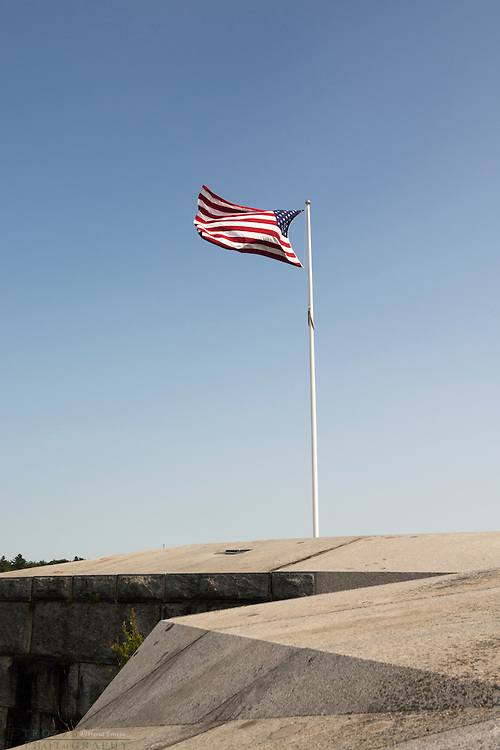 Us Flag flies over Fort Knox, Prospect, Maine, USA