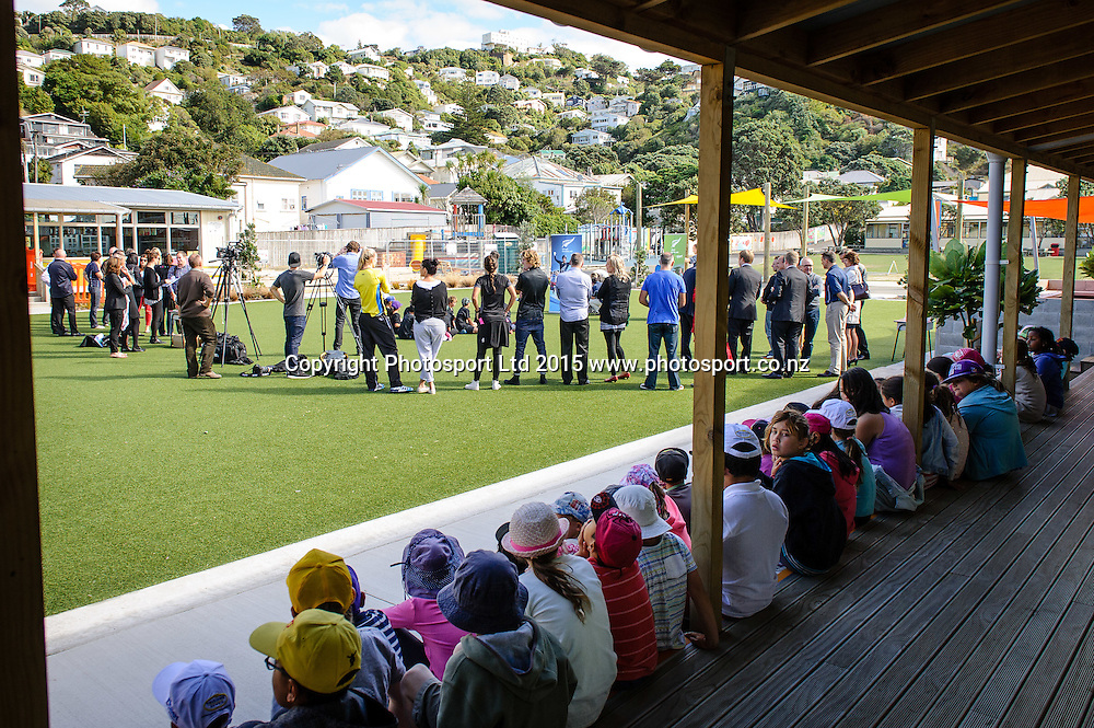 Lyall Bay School students, guests and media listen to the Sport NZ Strategy Launch, Lyall Bay School, Wellington, New Zealand. Friday 20 March 2015. Copyright Photo: Mark Tantrum/www.Photosport.co.nz
