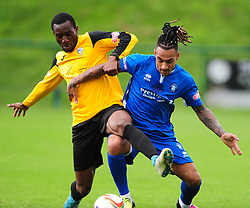 COURTNEY MASSEY  AFC DUNSTABLE BATTLES WITH MARLOW ISAAC OSEI TUTLI,   AFC Dunstable v Marlow FC Evo Stick League South East, Saturday 9th September 2017<br /> Score 2-1:Photo:Mike Capps
