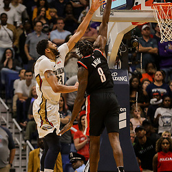 Mar 27, 2018; New Orleans, LA, USA; New Orleans Pelicans forward Anthony Davis (23) shoots over Portland Trail Blazers forward Al-Farouq Aminu (8) during the second half at the Smoothie King Center. The Trail Blazers defeated the Pelicans 107-103. Mandatory Credit: Derick E. Hingle-USA TODAY Sports
