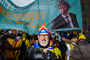 BrusselsBelgium December 7 2017 thenth of thousands of Catalanes gathered in near the EU headquarters in the Parc Cinquantenaire for a demonstration,they sing Catalan songs for their independence and  'Puigdemont, nex president!'