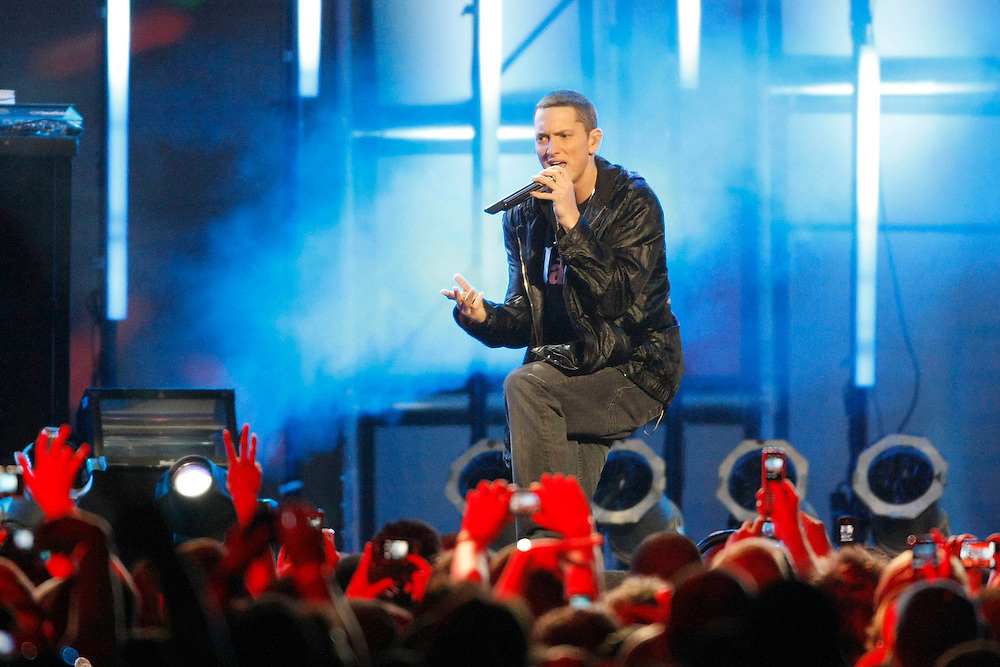 "Eminem performs hit singles off his latest up coming album ""Relapse"" at the Jimmy Kimmel Show in Hollywood, Calif., on May 15, 2009. Em performed tracks ""3 A.M.,"" ""We Made You,"" and ""Crack a Bottle."" Also in the crowd was legendary boxer Mike Tyson."