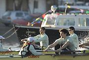 "Putney, Great Britain, Both crews racing towards the Putney Hard, during the 2007 Cambridge University Trial Eights, One Night Stand, closest, just a few feet down to  'True Love'. Course, Putney to Mortlake  11/12/2007 [Mandatory Credit Peter Spurrier/Intersport Images]..CUBC. .One Night Stand.  Bow, Alastair MACLEOD, 2. Shane O""MARA, 3. John HEDER, 4. Ryan MONAGHAN, 5. Dan SHAUGHNESSY,, 6 Tom RANSLEY, 7. Tom EDWARDS   Stroke Dave Billings, Cocx, Rebecca DOWBIGGIN...True Love. Bow Spenser HUNSBERGER, 2, James STRAWSON, 3. Henry PELLY, 4. Bartosz SZCZYRBA, 5. Pete MARSHLAND, 6. Tobias GARNETT , 7 Colin SCOTT Stroke Tim PERKINS, Cox Russell GLENN. , Rowing Course: River Thames, Championship course, Putney to Mortlake 4.25 Miles, , Varsity Boat Race. , Pete Marsland"