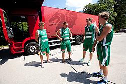 Miha Zupan, Goran Jagodnik, Matjaz Smodis and  Zoran Dragic during filming of video for Eurobasket Lithuania 2011 of Slovenian National Basketball team during training camp in Kranjska Gora, on July 12, 2011, in Kranjska Gora, Slovenia. (Photo by Vid Ponikvar / Sportida)