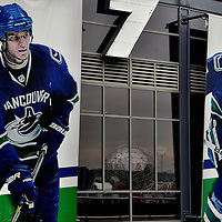 Hockey Player Murals on Rogers Arena in Vancouver, Canada <br />