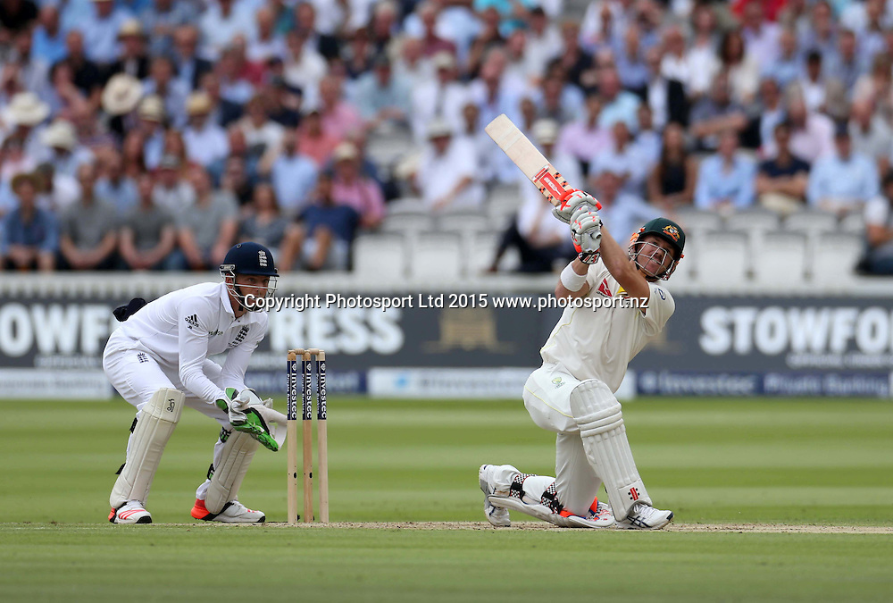 David Warner hits Moeen Ali's first delivery for four during the second Investec Ashes Test Match between England and Australia at Lord's Cricket Ground, London. Photo: Graham Morris/www.cricketpix.com (Tel: +44 (0)20 8969 4192; Email: graham@cricketpix.com) 16072015