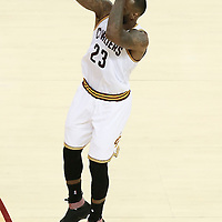 10 June 2016: Cleveland Cavaliers forward LeBron James (23) takes a jump shot during the Golden State Warriors 108-97 victory over the Cleveland Cavaliers, during Game Four of the 2016 NBA Finals at the Quicken Loans Arena, Cleveland, Ohio, USA.