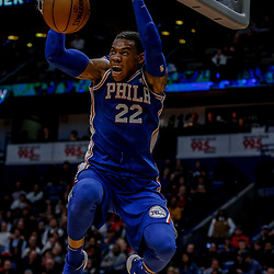 Dec 10, 2017; New Orleans, LA, USA; Philadelphia 76ers forward Richaun Holmes (22) dunks against the New Orleans Pelicans during the second half at the Smoothie King Center. The Pelicans defeated the 76ers 131-124. Mandatory Credit: Derick E. Hingle-USA TODAY Sports