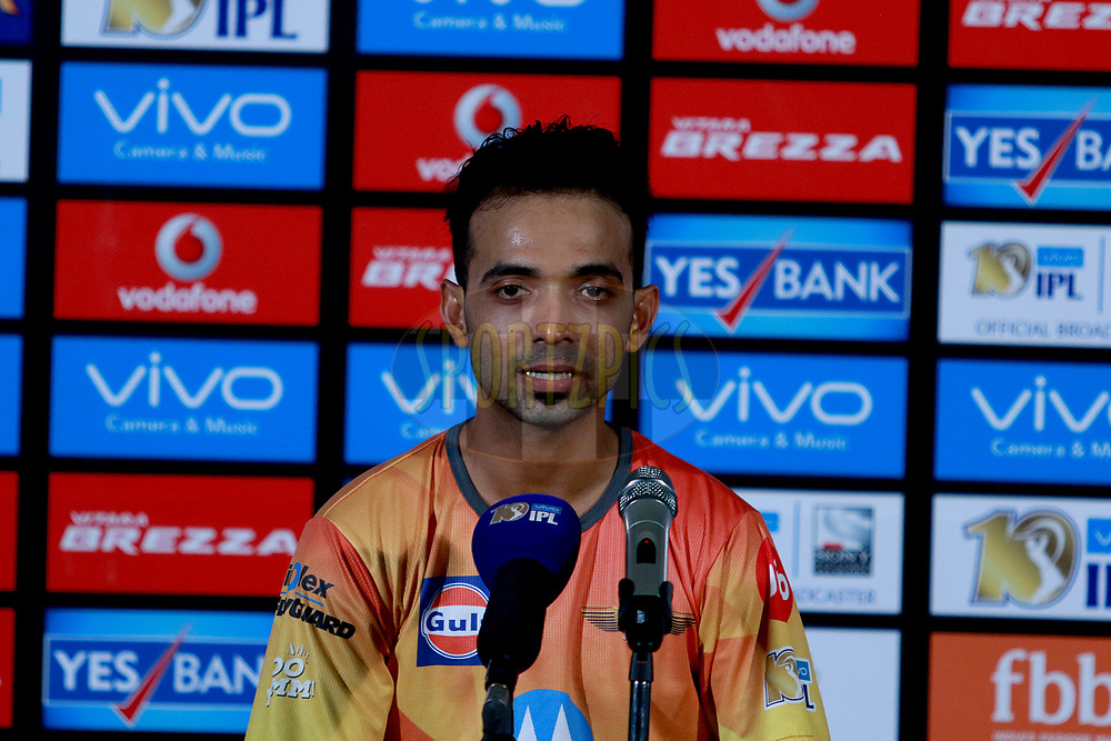 Ajinkya Rahane of RPS at the press conference  after match 30 of the Vivo 2017 Indian Premier League between the Rising Pune Supergiants and the Kolkata Knight Riders  held at the MCA Pune International Cricket Stadium in Pune, India on the 26th April 2017<br /> <br /> Photo by Rahul Gulati - Sportzpics - IPL