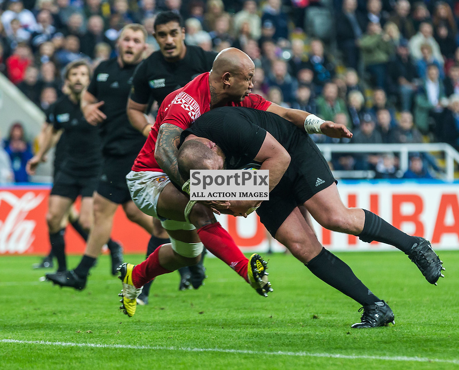 Tony Woodcock scores during the Rugby World Cup match between New Zealand and Tonga (c) ROSS EAGLESHAM | Sportpix.co.uk