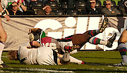Twickenham, Surrey, ENGLAND, 29.04.2006, Joe Mbu, dissallowed try,, the ball, during the Super League match Quins RL vs Huddersfield Giants, at The Stoop,  © Peter Spurrier/Intersport-images.com,Rugby League .