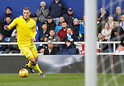 Leeds United striker Chris Wood beats the offside trap and is through on goal during the Sky Bet Championship match between Queens Park Rangers and Leeds United at the Loftus Road Stadium, London, England on 28 November 2015. Photo by Andy Walter