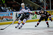 KELOWNA, CANADA - FEBRUARY 18:  Braydyn Chizen #22 of the Kelowna Rockets, Jesse Gabrielle #13 of the Prince George Cougars at the Kelowna Rockets game on February 18, 2017 at Prospera Place in Kelowna, British Columbia, Canada.  (Photo By Cindy Rogers/Nyasa Photography,  *** Local Caption ***