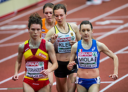 Blanca Fernandez of Spain, Hanna Klein of Germany and Giulia Viola of Italy compete in the Women's 3000 metres heats on day one of the 2017 European Athletics Indoor Championships at the Kombank Arena on March 3, 2017 in Belgrade, Serbia. Photo by Vid Ponikvar / Sportida