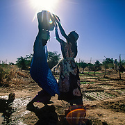 Since 1996, Oxfam has been promoting the creation of women's agricultural cooperatives in Mauritania to work on community vegetable gardens. Irrigation using water from the River Senegal was the first step taken by the women of Brakna to make these previously abandoned and unproductive lands fertile. Brakna, Mauritania.
