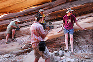 Greta Schiller and Octavio filming  Dr. Eugenie Scott and Dr Gishlick on location in the Grand Canyon
