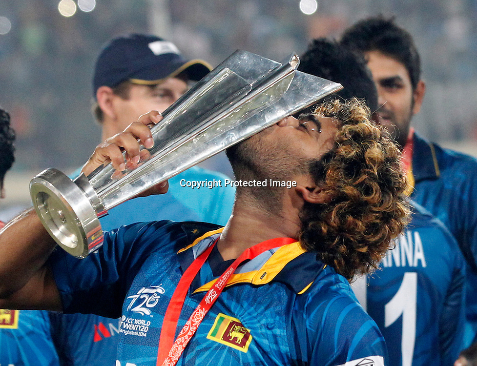 Lasith Malinga with the trophy, ICC T20 cricket World Cup Final - Sri Lanka v India, Sher-e-Bangla National Cricket Stadium, Mirpur, Bangladesh, 6 April 2014. Photo: www.photosport.co.nz
