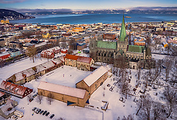 THEMENBILD - der Nidarosdom umringt von den Häusern der Stadt, aufgenommen am 14. Maerz 2019 in Trondheim, Norwegen // the Nidaros Cathedral surrounded by the houses of the city, Trondheim, Norway on 2018/03/14. EXPA Pictures © 2019, PhotoCredit: EXPA/ JFK