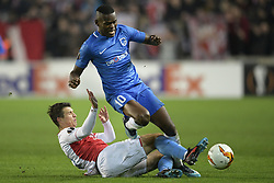 February 14, 2019 - Prague, CZECH REPUBLIC - Slavia's Ondrej Kudela and Genk's Aly Mbwana Samatta fight for the ball during a soccer game between Czech club SK Slavia Praha and Belgian team KRC Genk, the first leg of the 1/16 finals (round of 32) in the Europa League competition, Thursday 14 February 2019 in Prague, Czech Republic. BELGA PHOTO YORICK JANSENS (Credit Image: © Yorick Jansens/Belga via ZUMA Press)