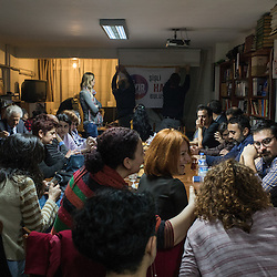 Supporters of the No vote meet at a cultural center in the Istanbul neighborhood of Sisli, in Istanbul, Turkey on February 23, 2017. <br /> On April 16, 2017, Turkish citizens will vote on proposed changes on the constitution that could replace the current parliamentary government system with a presidential one.