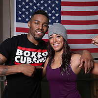 "WINTER HAVEN, FL - MAY 05: Boxer Willie Monroe Jr. poses with boxer Neomi Bosques out at the Winter Haven Boxing Gym on May 5, 2015 in Winter Haven, Florida. Monroe will challenge middleweight world champion Gennady ""GGG"" Golovkin for the WBA world championship title in Los Angeles on May 16.  (Photo by Alex Menendez/Getty Images) *** Local Caption *** Willie Monroe Jr.; Noemi Bosques"