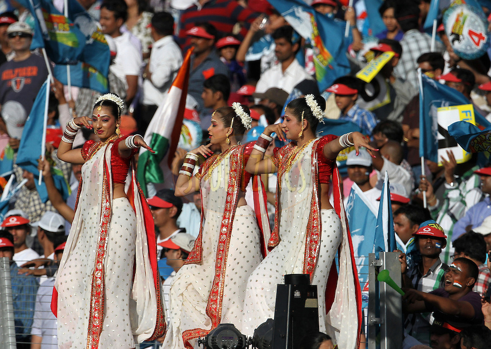 Cheer leaders dance to the tune during match 31 of the Indian Premier League ( IPL) 2012  between The Pune Warriors India and the Delhi Daredevils held at the Subrata Roy Sahara Stadium, Pune on the 24th April 2012..Photo by Vipin Pawar/IPL/SPORTZPICS