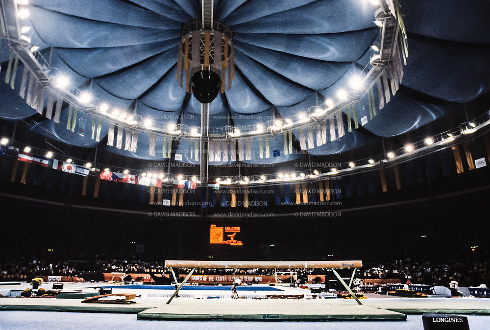 SEOUL, SOUTH KOREA -  SEPTEMBER 21:  A general view of the gymnastics venue including the balance beam at the Olympic Gymnastics Arena during the 1988 Olympic Games held in September 1988 in Seoul, South Korea.  (Photo by David Madison/Getty Images)