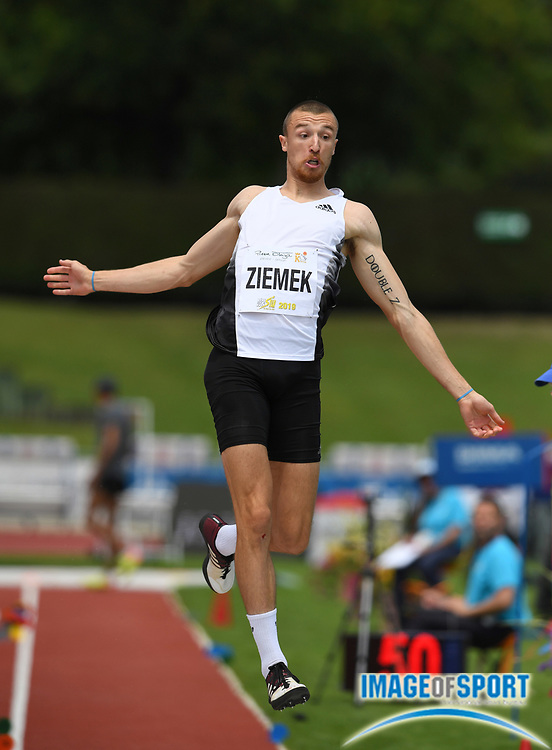 Zach Ziemek (USA) jumps 25-0 (7.62m) in the long jump during the decathlon at the DecaStar meeting, Friday, June 22, 2019, in Talence, France. Ziemek placed second with 8,344 points. (Jiro Mochizuki/Image of Sport)