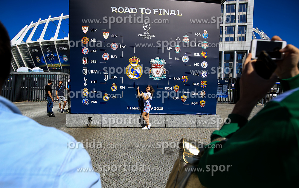 Fans outside of the stadium prior to the UEFA Champions League final football match between Liverpool and Real Madrid at the Olympic Stadium in Kiev, Ukraine on May 26, 2018.Photo by Sandi Fiser / Sportida