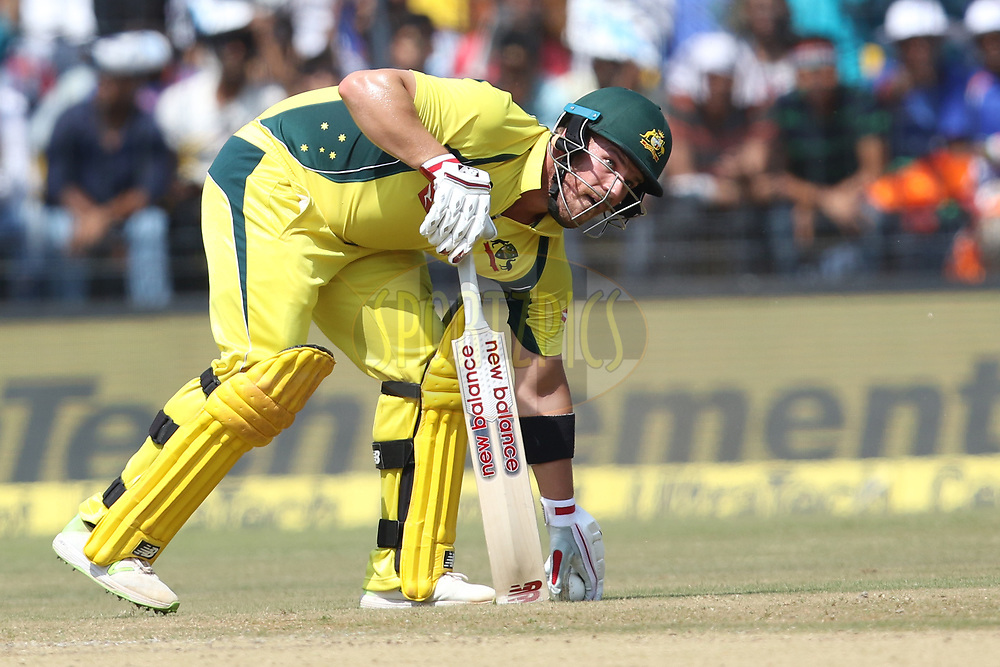 Aaron Finch of Australia during the 3rd One Day International between India and Australia held at the Holkar Stadium in Indore on the 24th  September 2017<br /> <br /> Photo by Arjun Singh / BCCI / SPORTZPICS