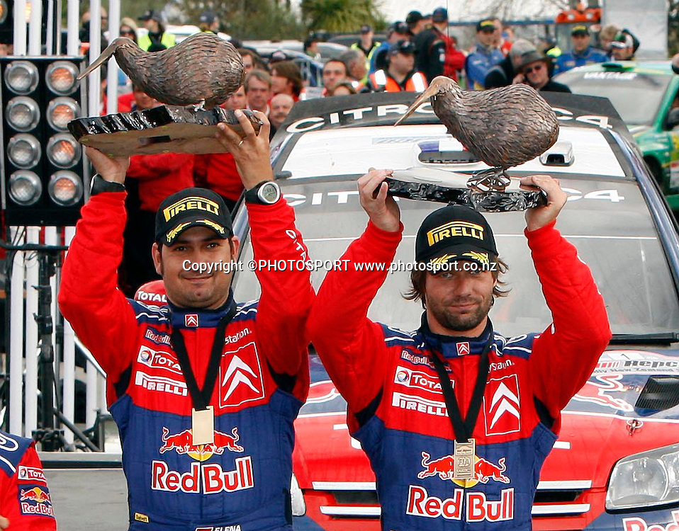 Winners (R-L) Sebastien Loeb and co driver Daniel Elena.<br />